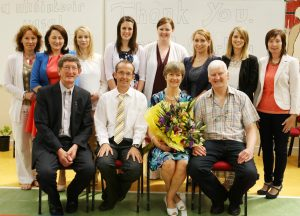 Ina McCarthy (third from right), retiring vice-principal at Ballinabranna NS after 42 years (38 of them at Ballinabranna). Pictured (front): Fr Tom Lalor, PP, principal Joe Doheny, Ina and John McCarthy; (back) Cara Dunne, Fenella Amond, Ann Kehoe, Stacy Amond, Maureen Agars, Nuala Hayden, Sara Watchorn and Brenda Coffey Photo: Karl McDonough