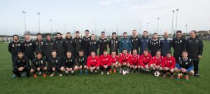 Robbie Keane with members of the IT Carlow soccer squad and coaching staff