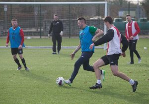 Robbie Keane gets stuck into a coaching session with the IT Carlow players