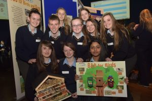 Students from Scoil Chonglais, Baltinglass scooped the overall first prize in the senior category in this year's ECO UNESCO competition for their B&B for birds and bugs. The team included back row (l/r) Amy Jackson and Rebecca Lawlor, (middle) Hannah Kehoe, Will Byrne, Jane Keogh, Ciara Hanley and Sumer Alers (front) Gwen Jackson, Róisín Connolly and Merlin F James