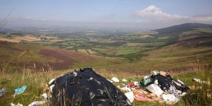 Four large bags of domestic rubbish dumped last week near the Nine Stones on Mount Leinster Photo: Finbarr O'Rourke