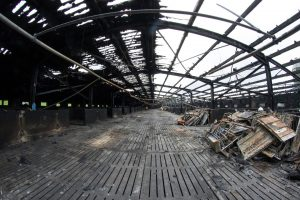 The burnt-out shell of the pig shed at Monemore, near Bagenalstown, where 1,050 pregnant sows died in a raging fire recently Photo: michaelorourkephotography.ie