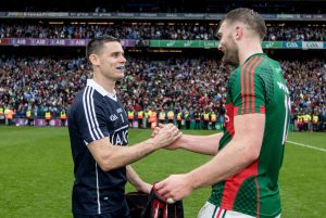 Dublin's Stephen Cluxton and Aidan O'Shea of Mayo will renew acquaintances on Saturday Photo Inpho/James Crombie