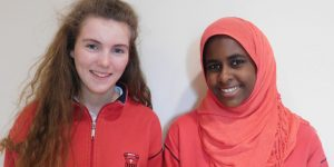 High flyers: Louise Colgan and Khawla Yousif from St Leo's College both scored 11 As in their junior cert exams