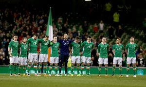 The Republic of Ireland team line up ahead of their friendly game with Switzerland last March wearing a jersey which features a 1916 logo, against Fifa policy Photo: Inpho/Donall Farmer