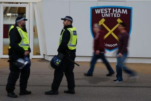 A visible police presence pictured outside The London Stadium ahead of the recent EFL Cup match between West Ham United and Chelsea Photo: Getty